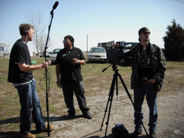 The crew waits for filming to begin