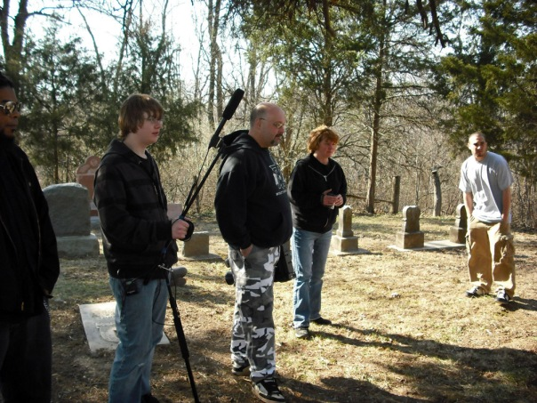 John and Crew getting ready to shoot at St. Omer Cemetery