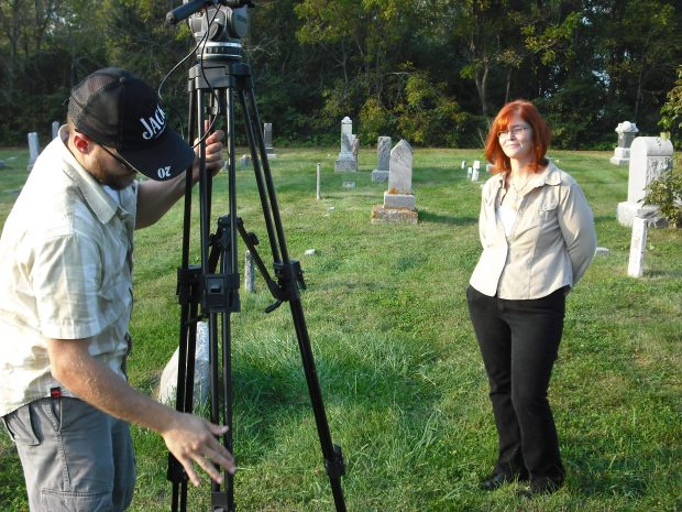 Kathi Kresol of the Haunted Rockford tour was interviewed at Blood's Point Cemetery