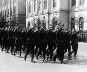 Iron Guard members marching in Bucharest