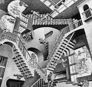 """Danish artist M.C. Escher's lithograph """"Relativity."""""""