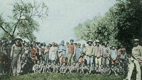 Nama prisoners taken by the Germans during the Herero War (1904).