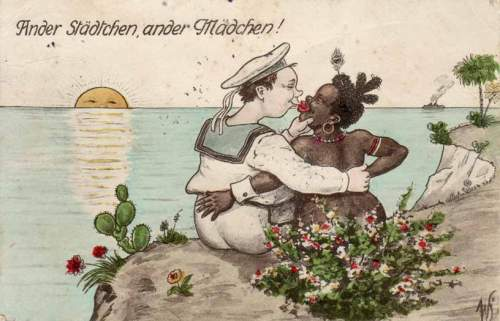 """German postcard reading, """"Another city, another girl!"""""""