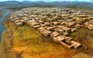 Artist's impression of Çatalhöyük, a Neolithic settlement