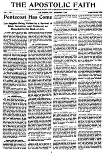 The Apostolic Faith newspaper advertising the first Azusa Street Revival
