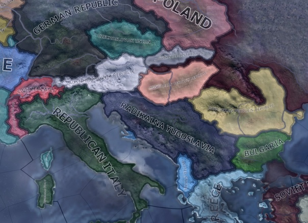 SFR Yugoslavia. I decided to go with an ahistorical scenario for this game to see if I could create an independent communist Balkan alliance.