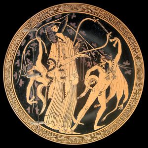 Dionysus and satyrs. Attic red-figured cup interior, ca. 480 BC