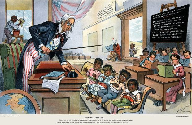 "This 1899 cartoon from Puck Magazine lampoons the hypocrisy of U.S. colonial ambitions. The chalkboard reads, ""The US must govern its new territories with or without their consent, until they can govern themselves."""