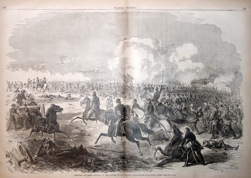 Lithograph from Harper's Weekly depicts Col. David Hunter's brigade charging Confederate forces at First Bull Run