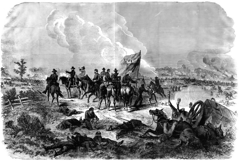 Contemporary lithograph of General George Thomas rallying his troops, by J.F. Hillen. Probably from Harper's Weekly