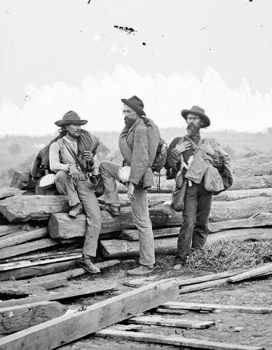 Andrew Blevins, 30th North Carolina; John Baldwin, 50th Virginia; and Ephraim Blevins, 37th North Carolina, were captured at Gettysburg on July 3, 1861. Civil War photographer Mathew Brady took this photo, which became a famous depiction of Confederate soldiers.