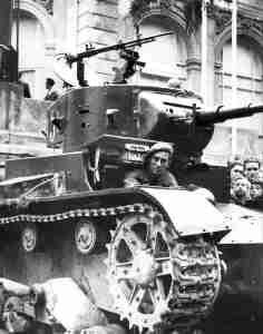 Republican Spanish forces use a Soviet tank
