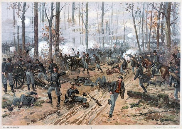 Battle of Shiloh by Thure de Thulstrup depicts fighting at the Hornet's Nest