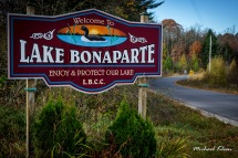Sign for Lake Bonaparte in Lewis County, New York. Photo by Michael Kleen