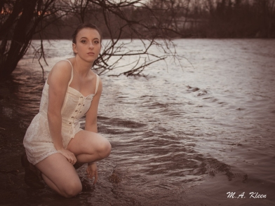 Model Cecelia Rose in Waterworks Park on the Black River. Photo by Michael Kleen