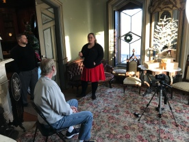 Samantha Hochmann, Steve Litteral, and Richard French take a break between filming at Tinker Swiss Cottage in Rockford, IL.