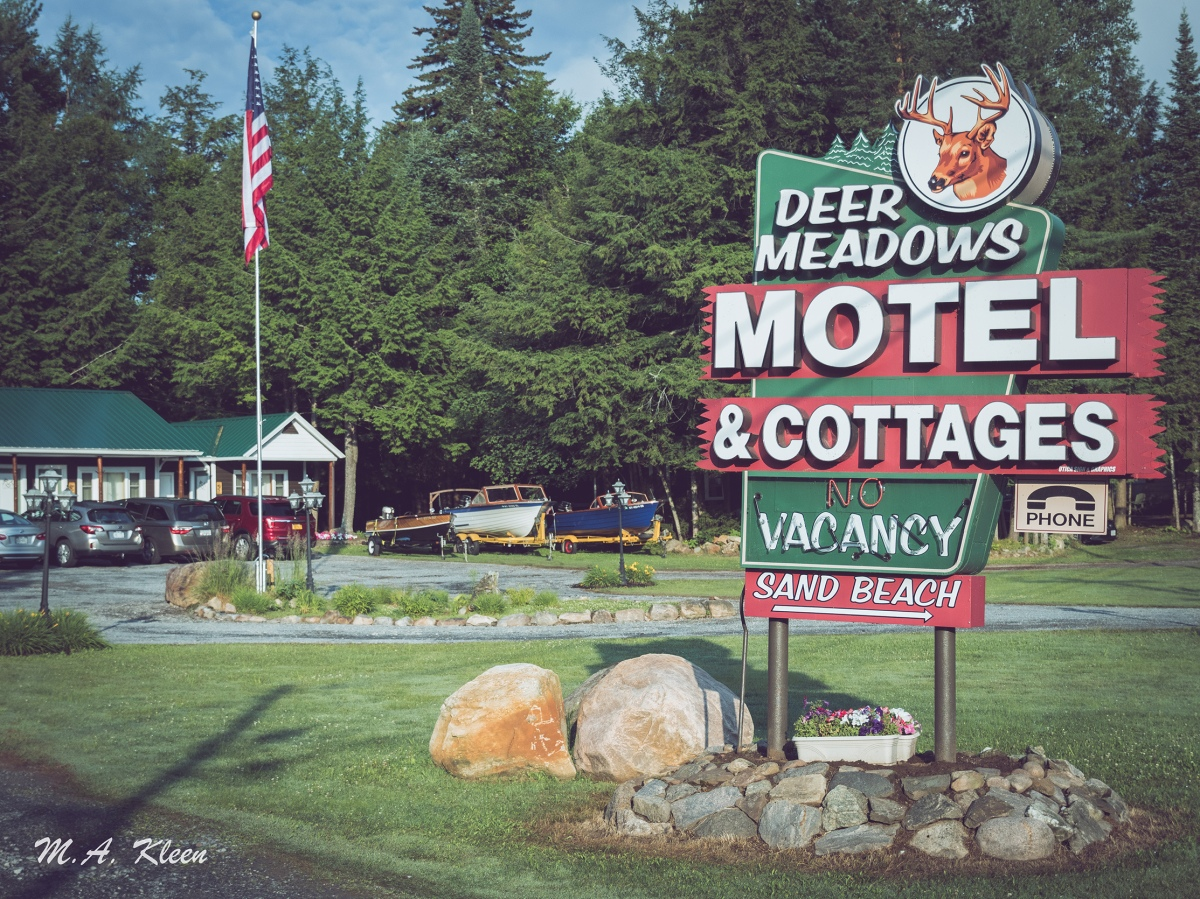 "Deer Meadows Motel and Cottages, at 408 State Route 28 in Inlet, New York, on Seventh Lake, is another fine example of a family ""motor inn."""