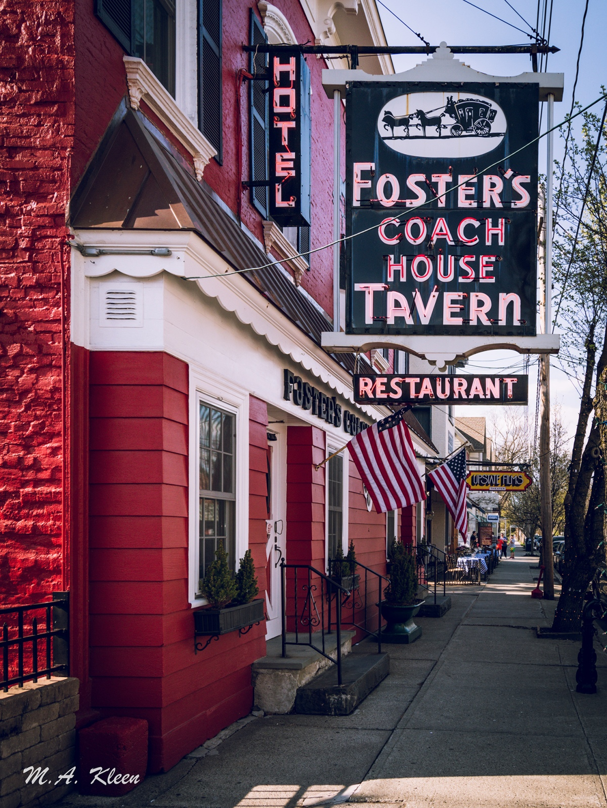 Neon sign for Fosters Coach House Tavern, at 6411 Montgomery Street (U.S. Route 9) in Rhinebeck, New York, along the Hudson River.