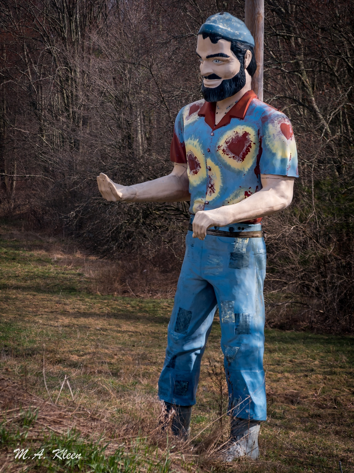This hippie Paul Bunyon statue sits in a field at 34 Yasgur Road outside Cochecton, New York.