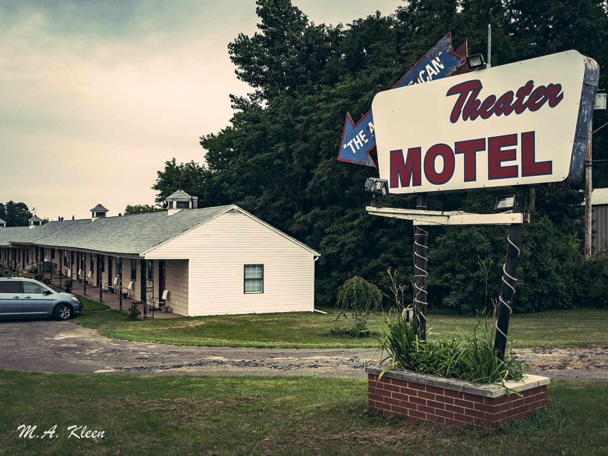 The 1940s-era Theater Motel, at 7592 U.S. Route 20 east of Westfield, New York, was originally a drive-in theater.