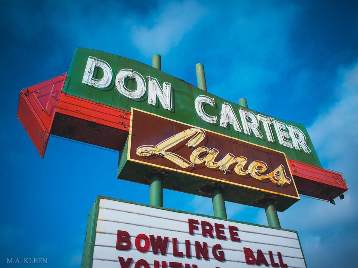 Pink and orange neon sign (when lit) for Don Carter Lanes, at 4007 E. State Street (U.S. Route 20) in Rockford, Illinois.