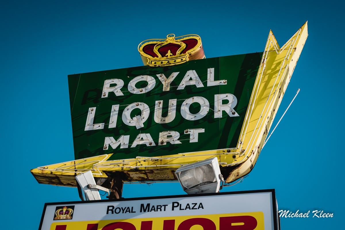 Beautiful neon sign for the Royal Liquor Mart, 3714 E. State Street (U.S. Route 20), in Rockford, Illinois.