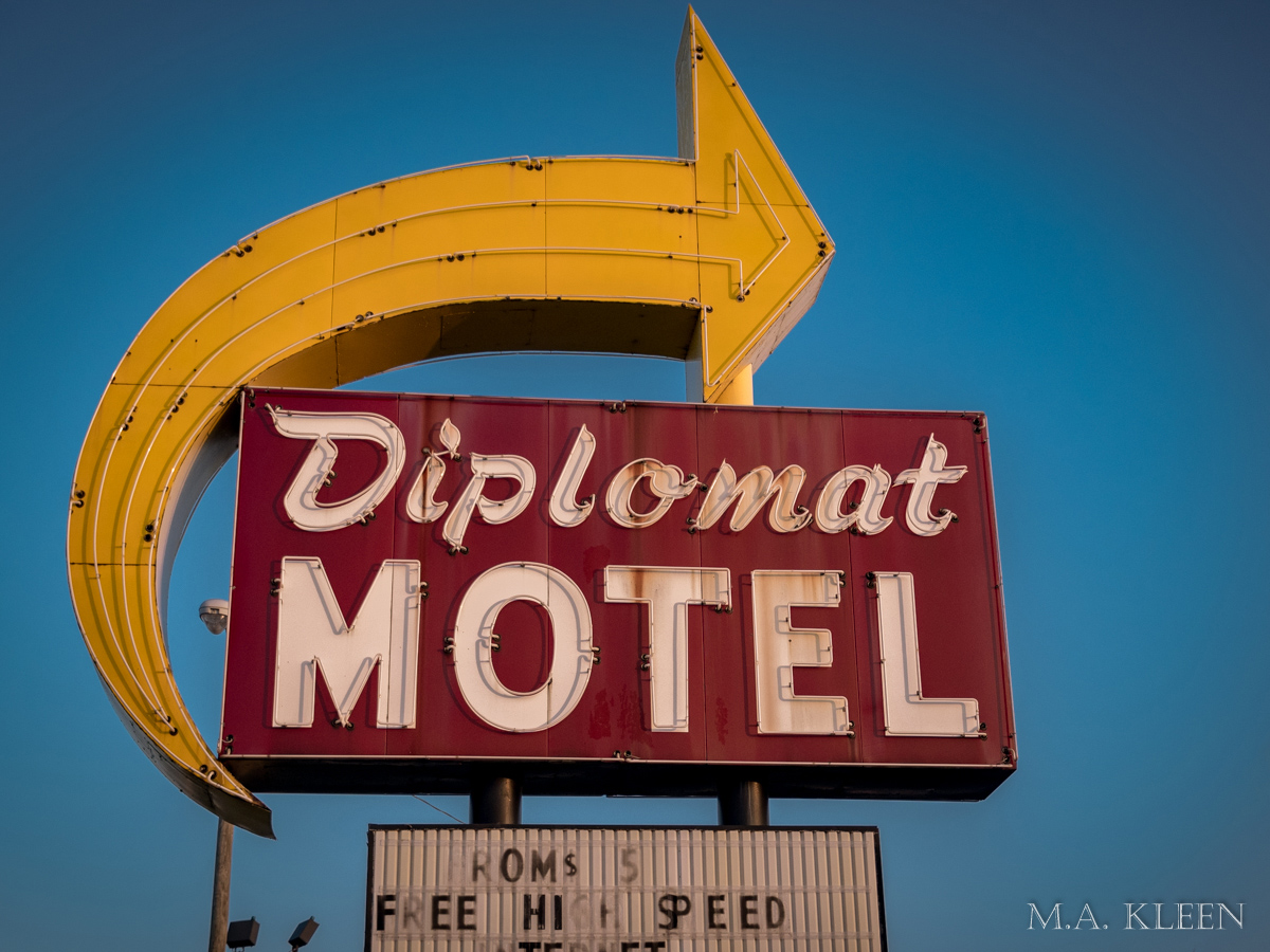 Glorious old sign for the Diplomat Motel, 3300 Cassopolis Street in Elkhart, Indiana.