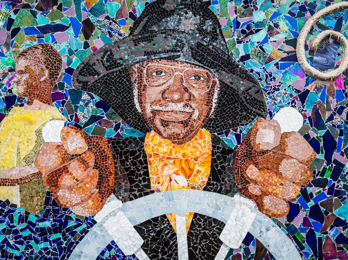 Stained glass mosaic 'Maryland's Bounty' by artist Cheryl Foster at National Harbor, Maryland.