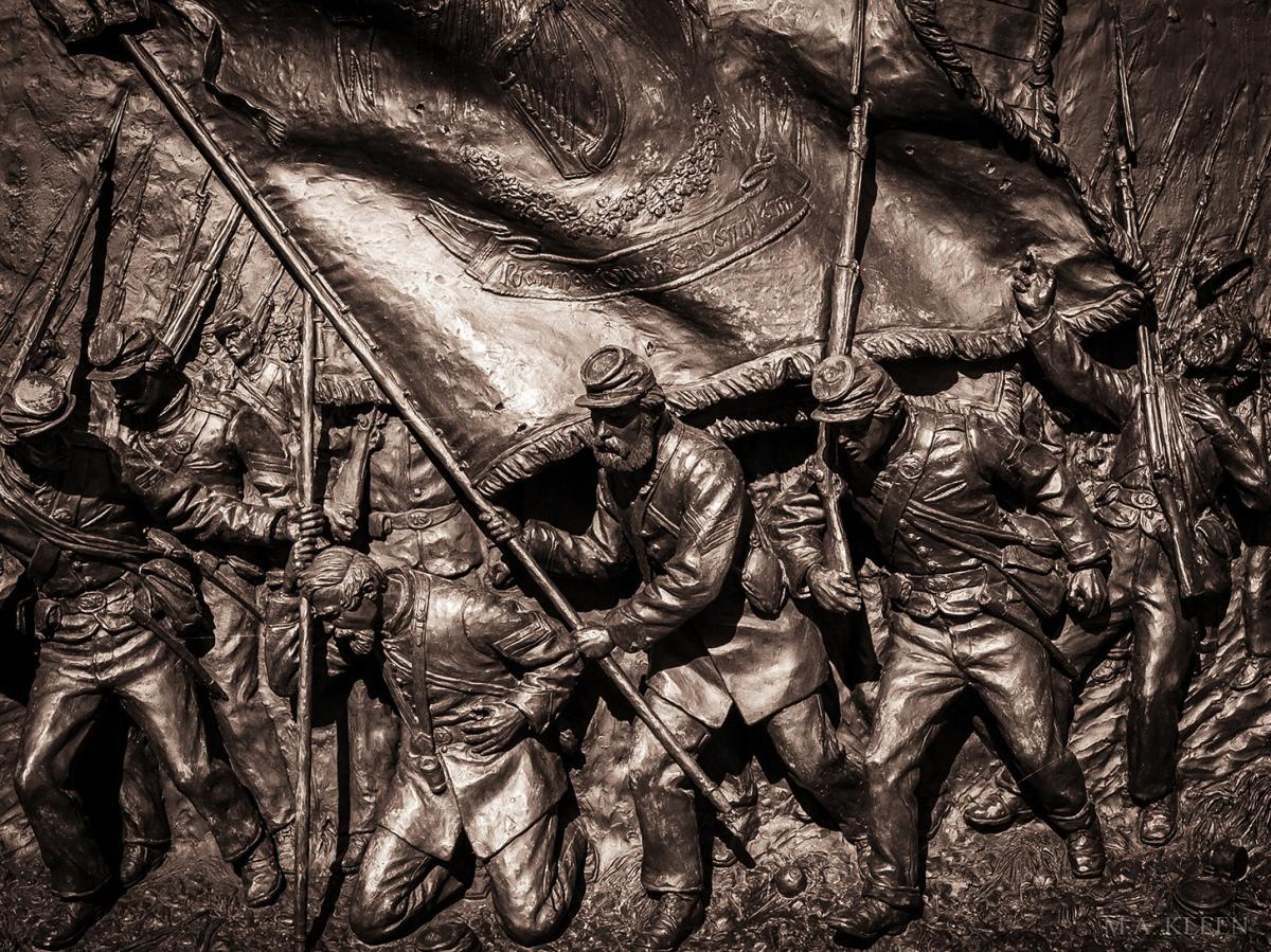 Relief sculpture on the Irish Brigade monument, Bloody Lane, at Antietam National Battlefield.