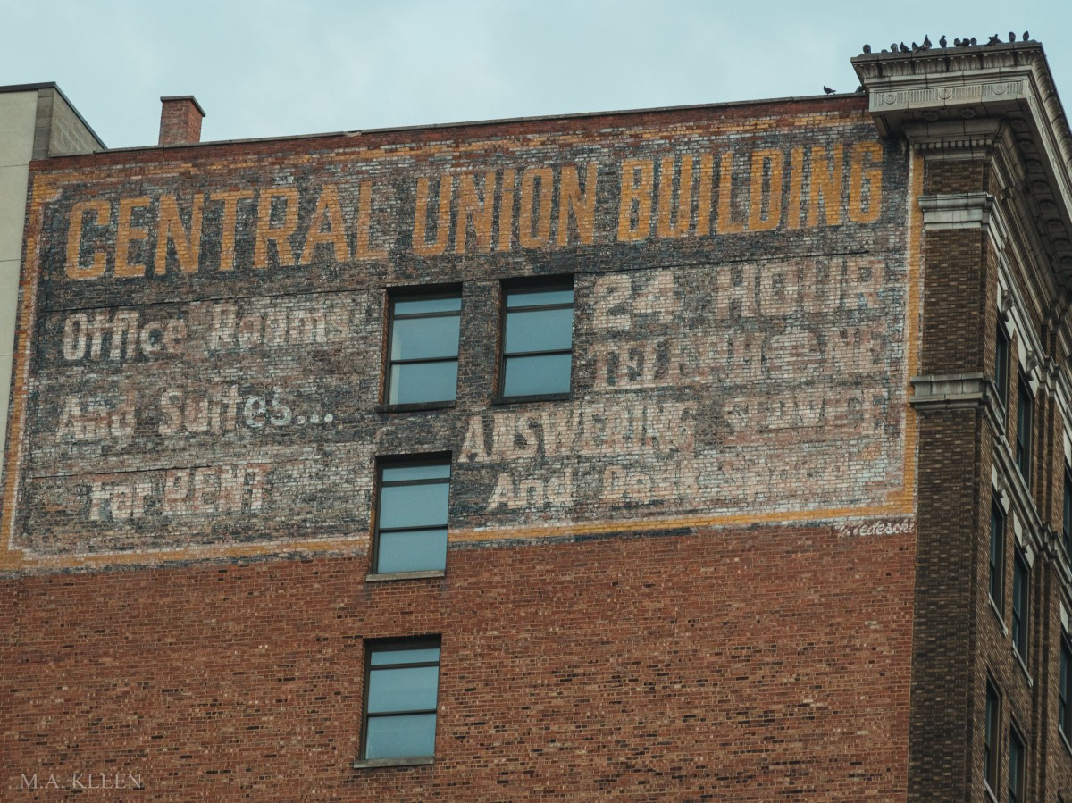 Brick ad for the Central Union Building, 1400 Main Street in Wheeling, West Virginia.