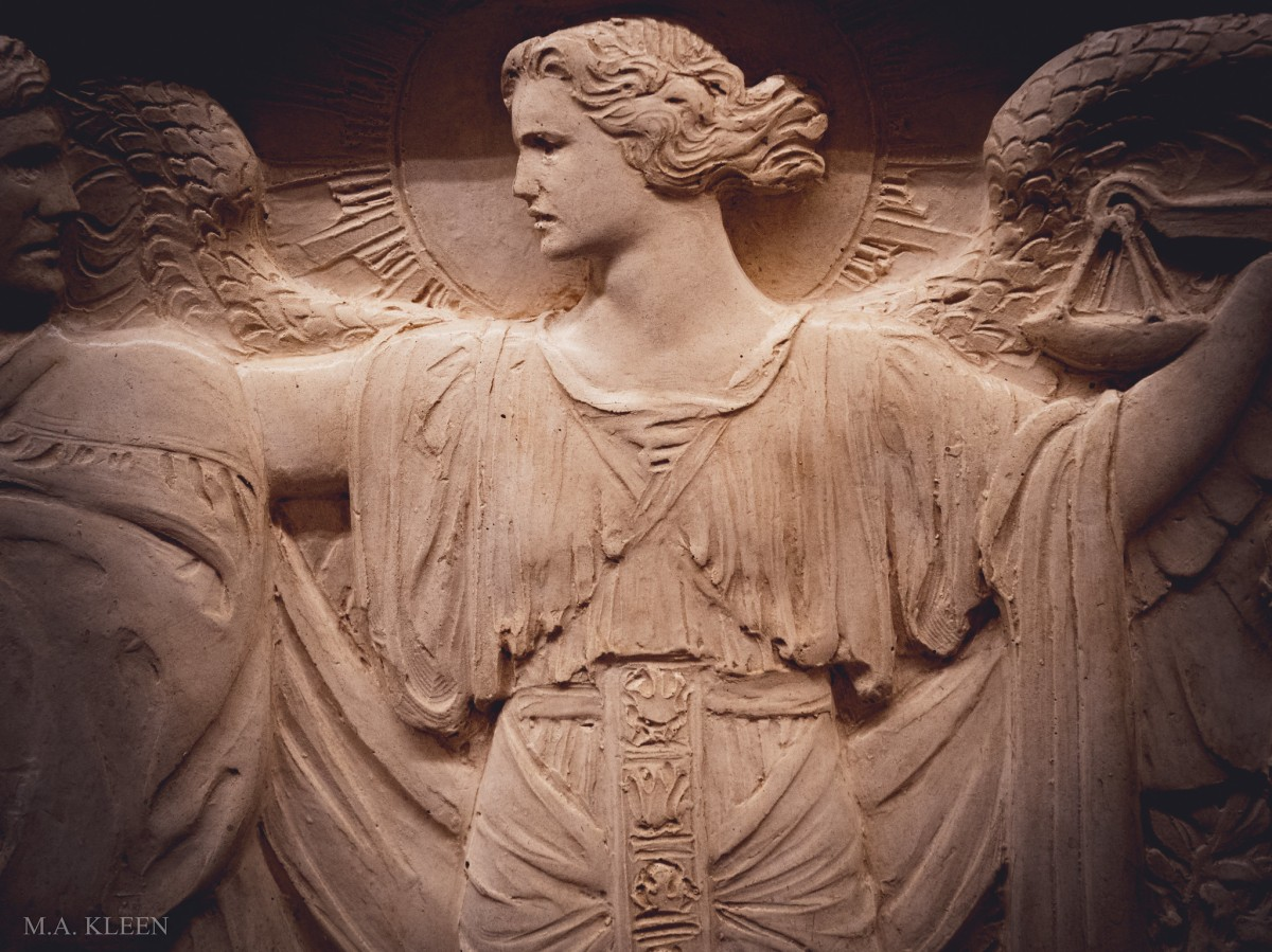 Detail of a bas relief sculpture representing Justice or Fairness at the U.S. Supreme Court, 1 First Street NE in Washington, DC.