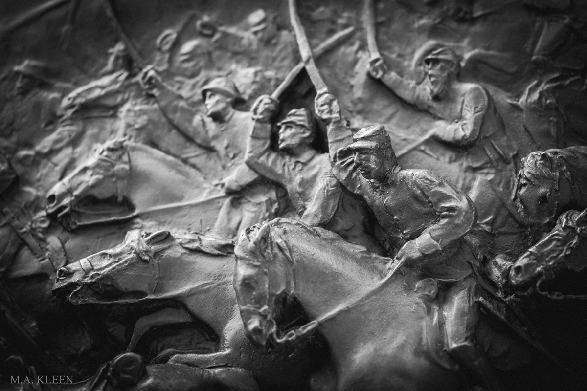 Bas relief on the monument to Brig. Gen. Elon John Farnsworth at Gettysburg National Military Park.