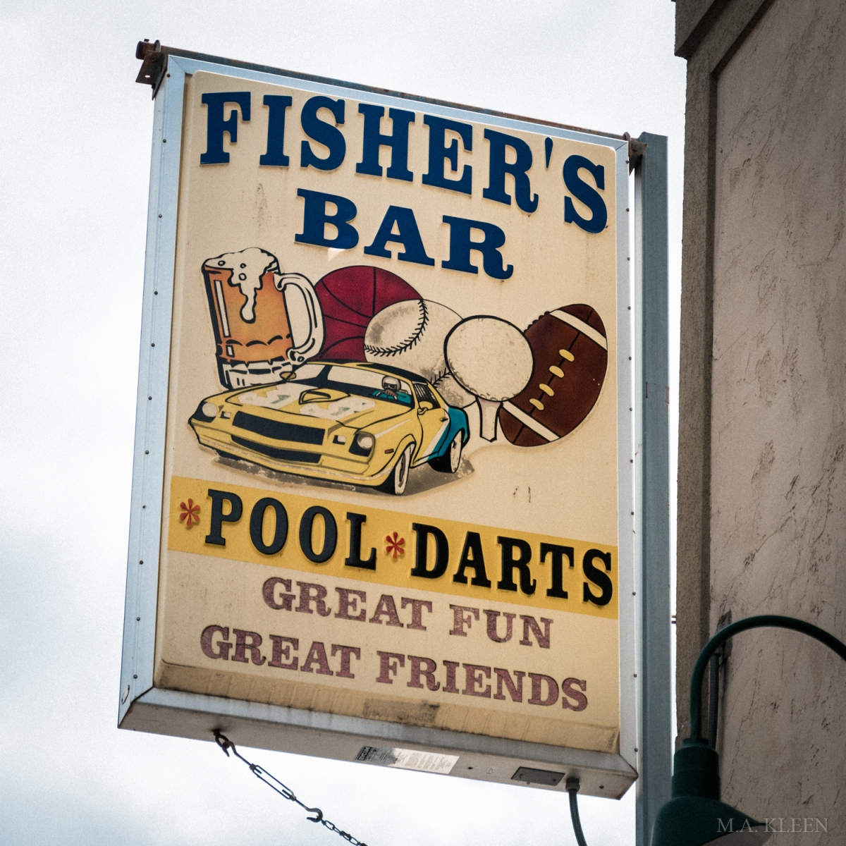 Sign for Fisher's Bar Pub in Wisconsin Dells, Wisconsin.