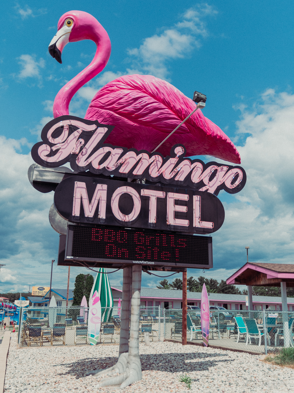 Flamingo Motel and Suites on U.S. Route 12 in Wisconsin Dells, Wisconsin.