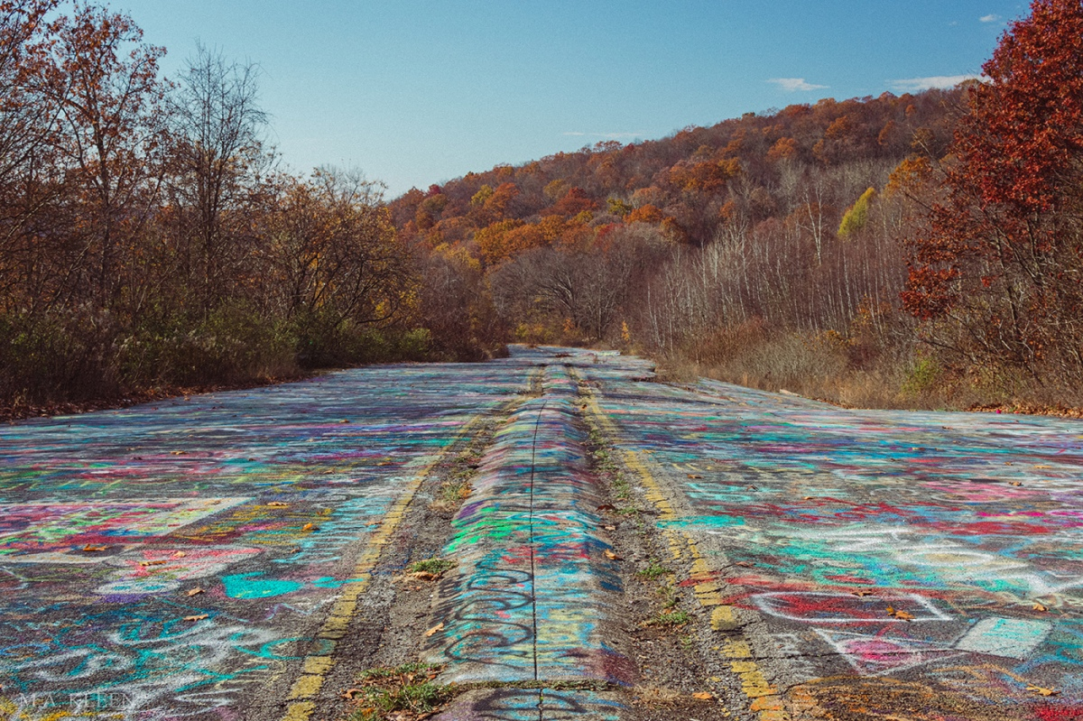 """A section of State Route 61 outside Centralia, Pennsylvania was abandoned and has become known as """"Graffiti Highway."""""""