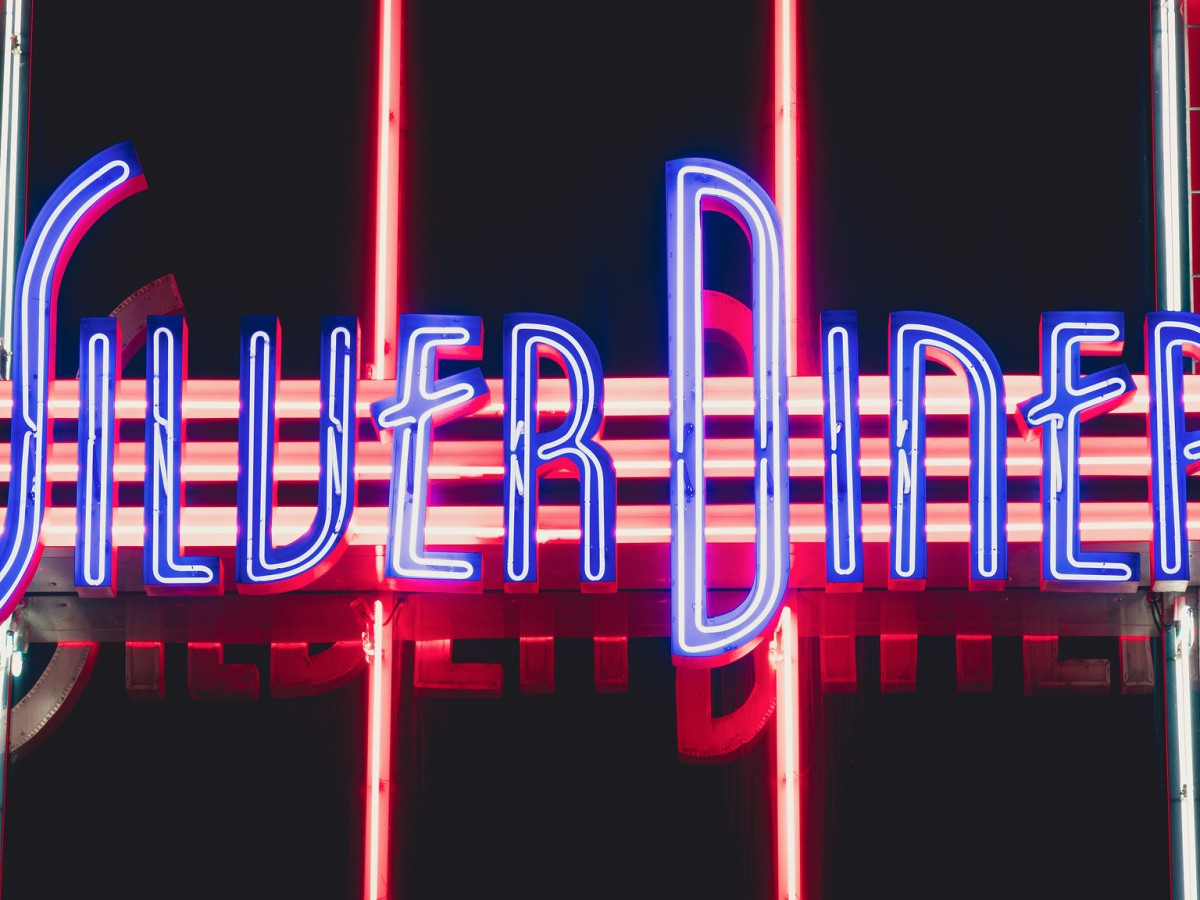 Gorgeous neon lights at the Silver Diner in Springfield, Virginia.