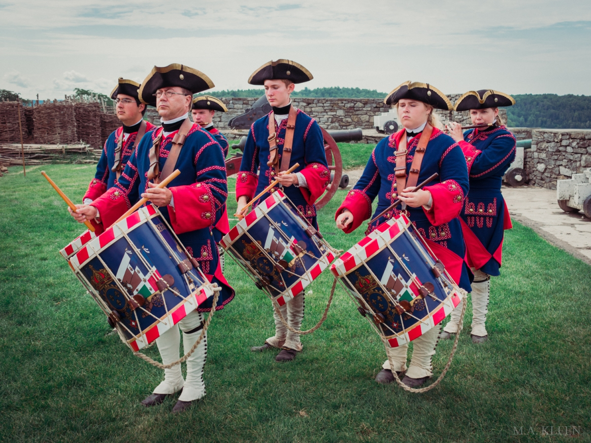 Reenactors dressed as a French fife and drum corps at Fort Ticonderoga, 102 Fort Ti Rd, in Ticonderoga, New York.