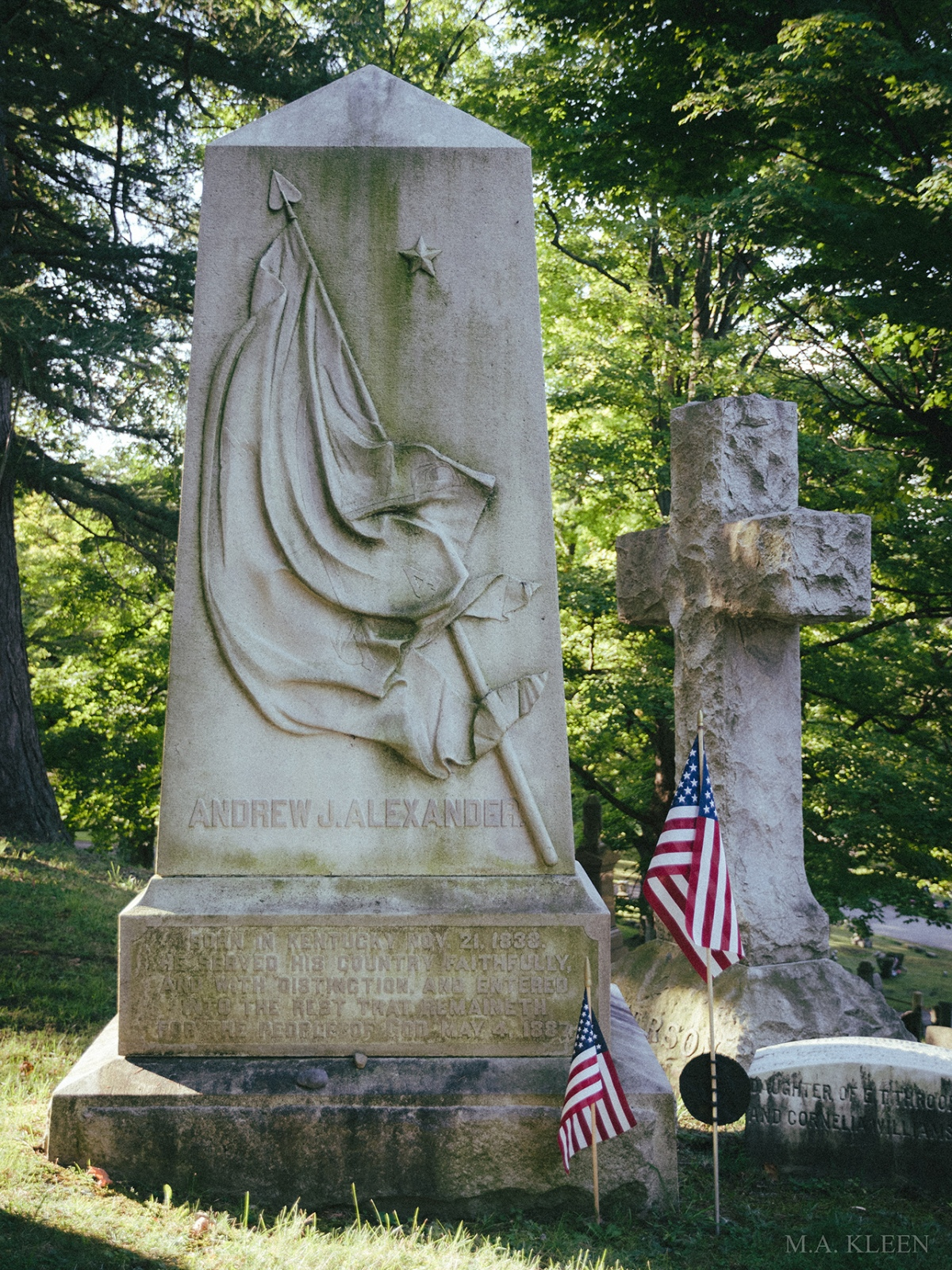 Monument to Brig. Gen. Andrew Jonathan Alexander (1833-1887) in Fort Hill Cemetery, 19 Fort Street in Auburn, Cayuga County, New York.