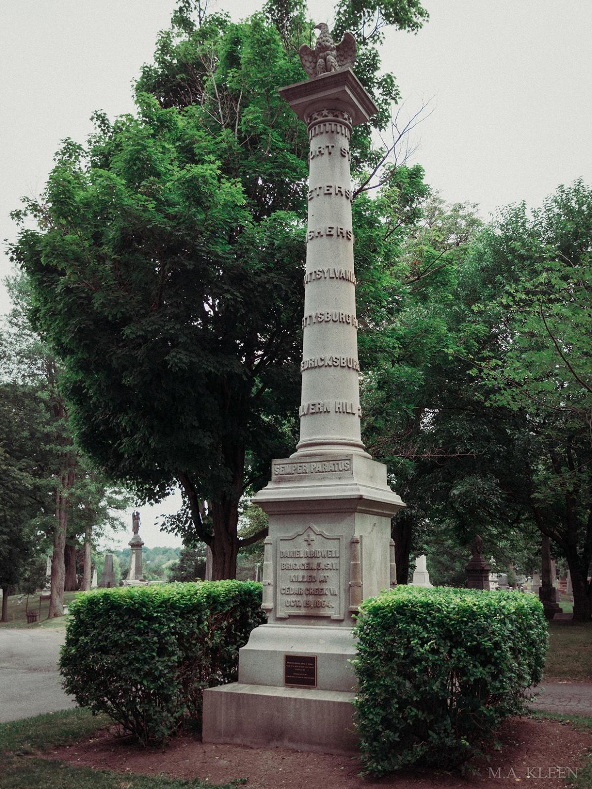 Monument to Brig. Gen. Daniel Davidson Bidwell (1819-1864) in Forest Lawn Cemetery, at 1411 Delaware Avenue in Buffalo, New York.