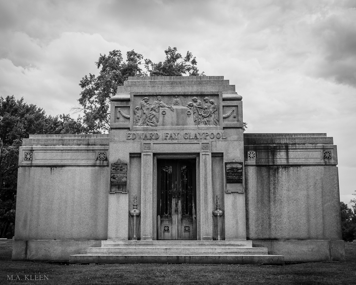 Mausoleum for Edward Fay Claypool (1832-1911) and family at Crown Hill Funeral Home and Cemetery, 700 38th Street in Indianapolis, Indiana.