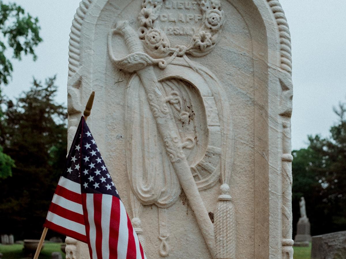 Headstone for Lt. Elam S. P. Clapp (1842-1864) in Oakwood Cemetery, 50 101st Street, Troy, Rensselaer County, New York.
