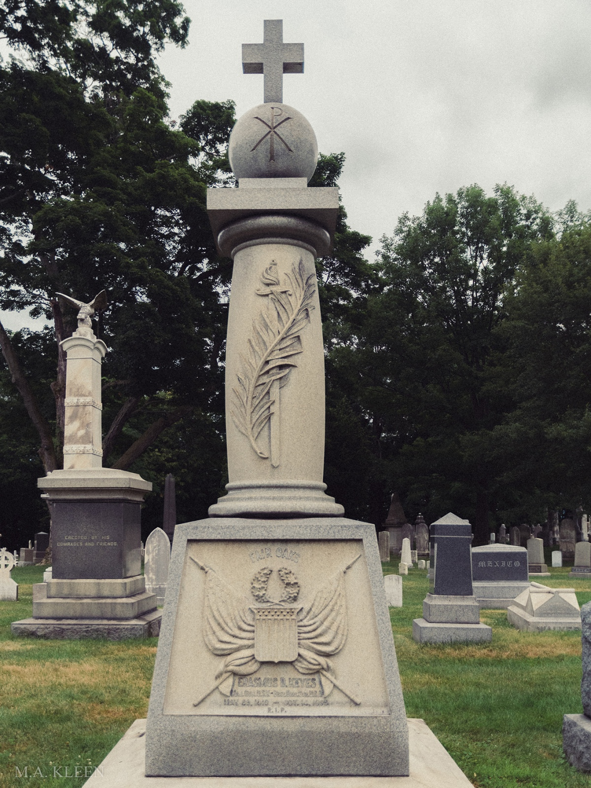 Monument to Maj. Gen. Erasmus Darwin Keyes (1810–1895) in West Point Cemetery, 329 Washington Road, United States Military Academy at West Point, New York.
