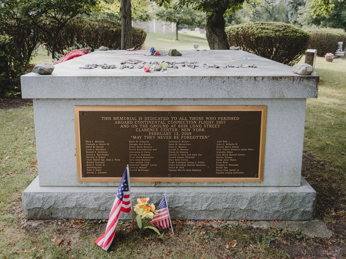 Colgan Air Flight 3407 Memorial in Forest Lawn Cemetery, at 1411 Delaware Avenue in Buffalo, New York.