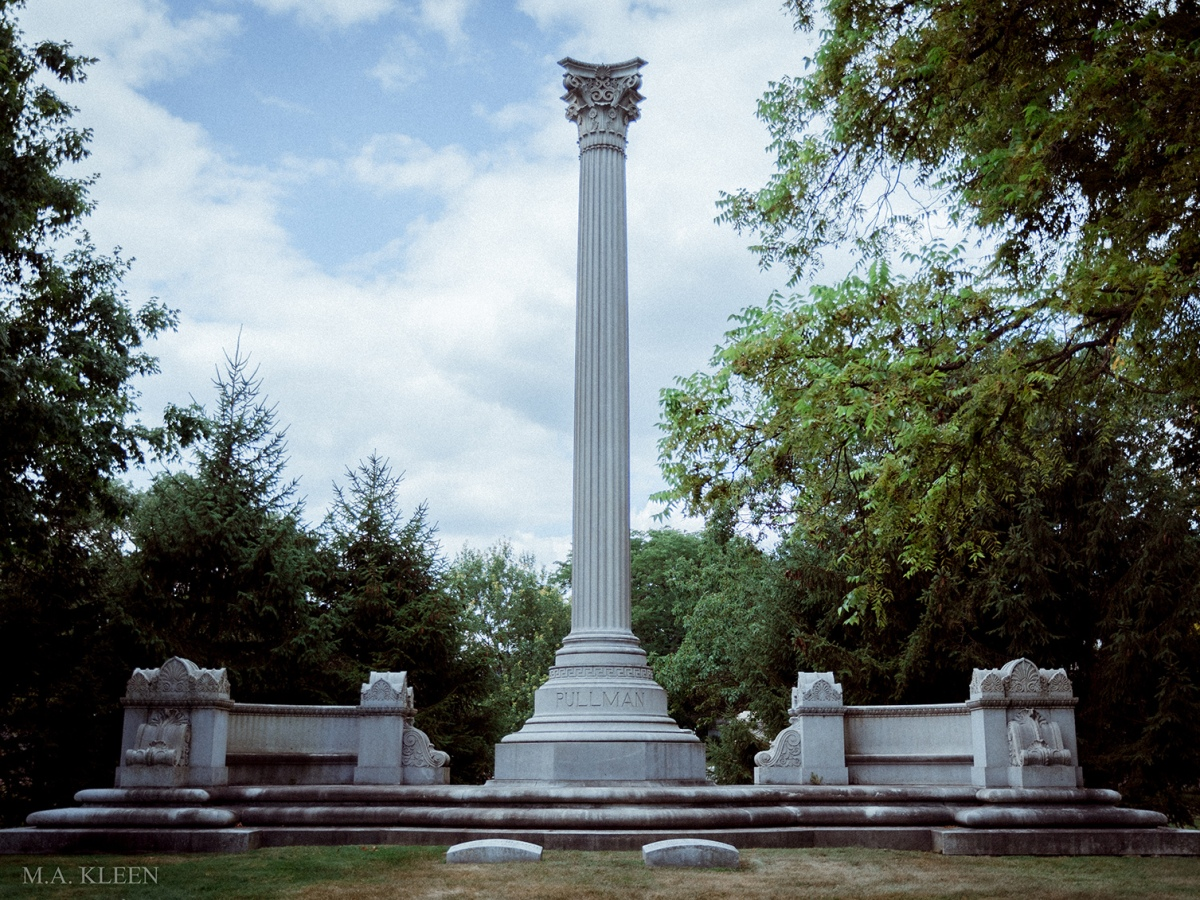 Monument to George Mortimer Pullman (1831-1897) in Graceland Cemetery, at 4001 N. Clark Street in Chicago, Illinois, the city's premier burial ground.