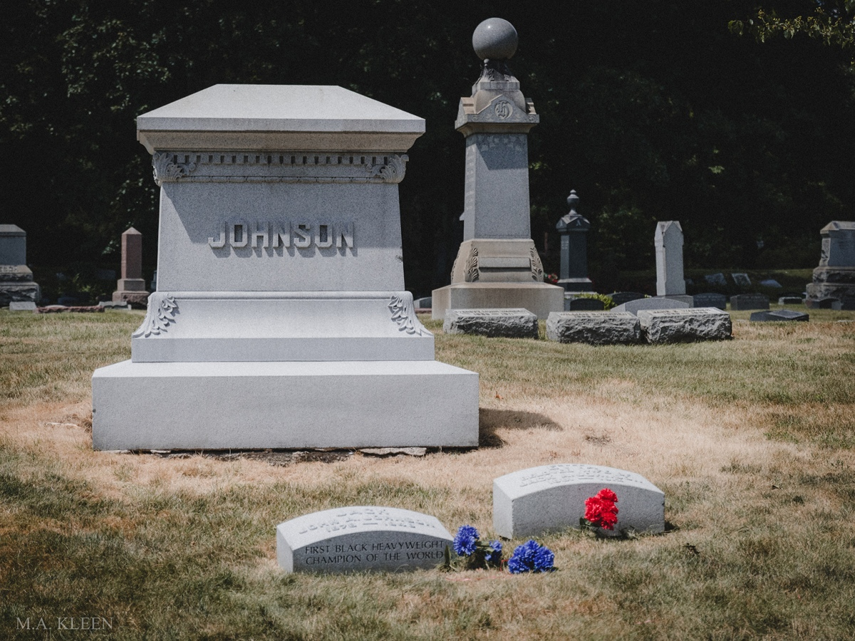 Headstone for heavyweight champion Jack Johnson (1878-1946) in Graceland Cemetery, at 4001 N. Clark Street in Chicago, Illinois, the city's premier burial ground.