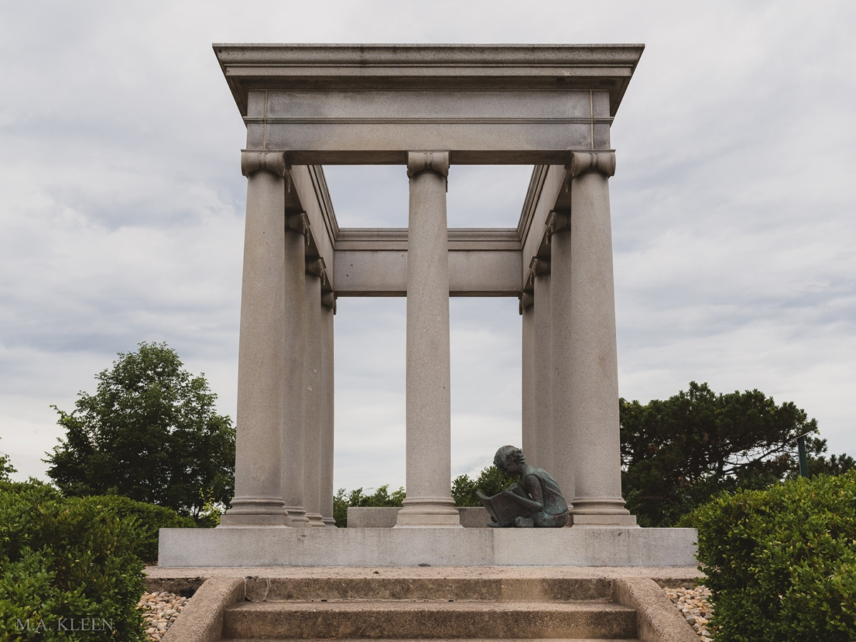 Monument to poet James Whitcomb Riley (1849-1916) and family at Crown Hill Funeral Home and Cemetery, 700 38th Street in Indianapolis, Indiana.