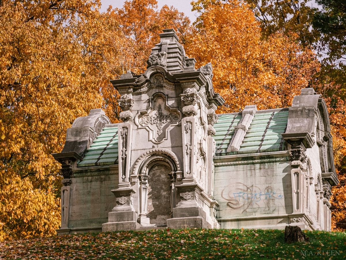 Mausoleum for the Green family in Oakwood Cemetery, 940 Comstock Avenue, next to Syracuse University, in Syracuse, Onondaga County, New York.