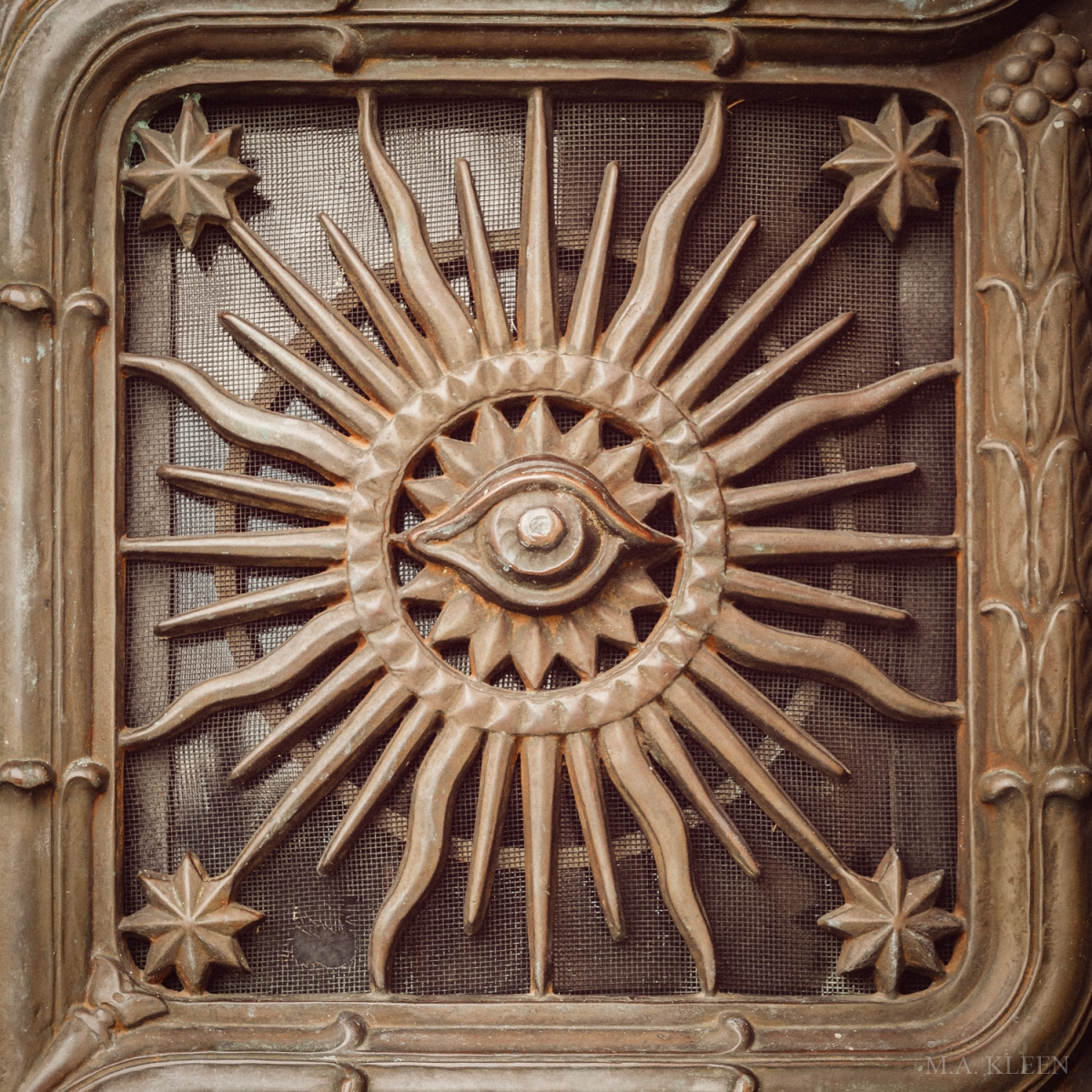Detail on the door of a neoclassical mausoleum for Louis Schwitzer (1880-1967) and Sophie Rampp Schwitzer (1889-1935) at Crown Hill Funeral Home and Cemetery, 700 38th Street in Indianapolis, Indiana.