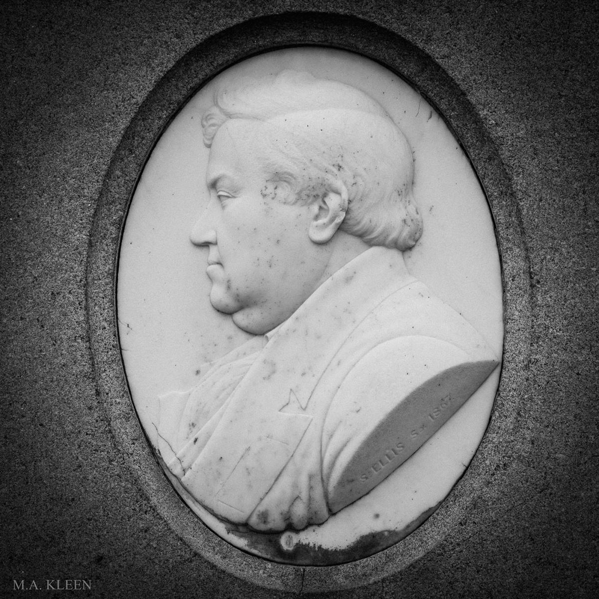 Relief bust of U.S. Senator Preston King (1806-1865) in Ogdensburg/Riverside Cemetery on State Route 812 in Ogdensburg, New York.