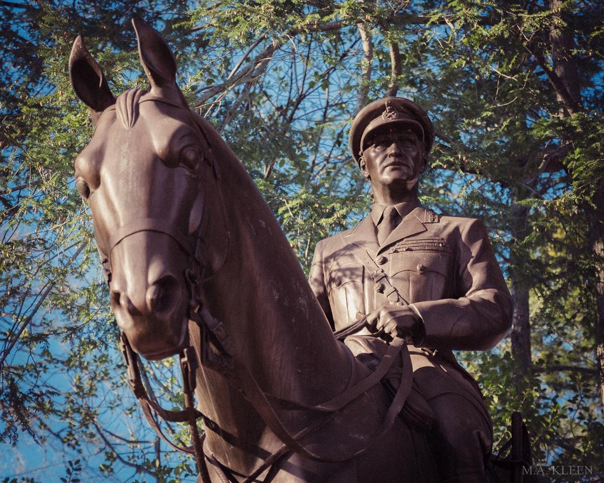 Equestrian monument to British Field Marshal Sir John Greer Dill (1881-1944) in Arlington National Cemetery in Arlington, Virginia.